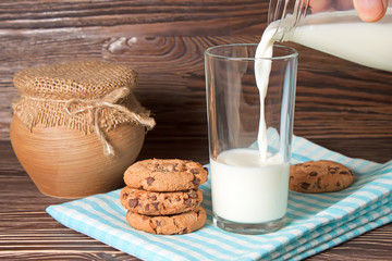 glass of milk and tasty cookies