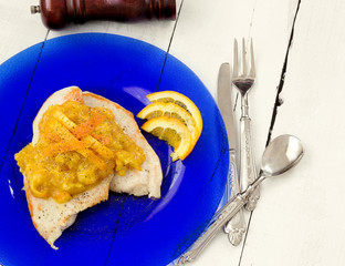 chicken fillet with orane sauce and pepper