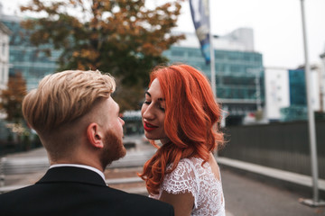 Wedding couple in city