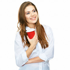beautiful woman toothy smiling portrait with red coffee cup iso