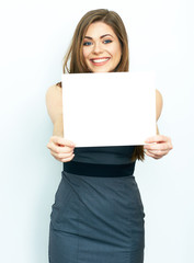 Smiling business woman hold white advertising  board.