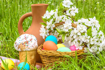 Easter picnic in the spring garden