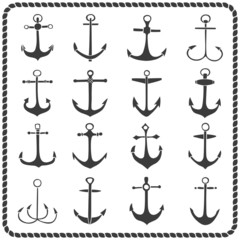 Set of sixteen hand drawn anchors