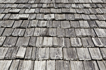 Wooden rooftop of shingles