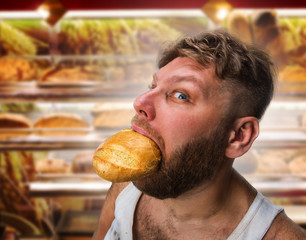 Man eating some bread