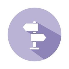Icono direcciones morado botón sombra