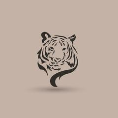 Artistic vector silhouette face tiger. Creative idea.