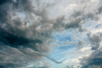 Blue sky with storm clouds at sunset