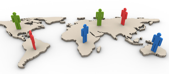 3d people on the worldmap