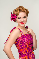 Beautiful retro style woman in vintage dress