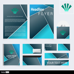 Corporate identity with geometric shape and icon.
