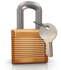 3d Padlock and keys
