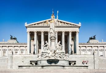 Austrian parliament with Pallas Athena in Vienna, Austria