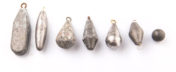 Fishing sinker or knoch over white background