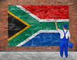 House painter paints flag of Republic of South Africa