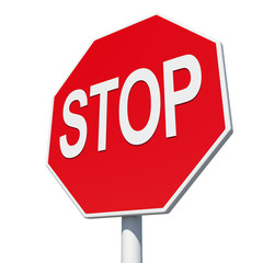 Octagonal road sign with word stop. Isolated