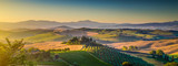 Tuscany landscape panorama at sunrise, Val d'Orcia, Italy