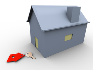 3d house with key