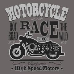 Motorcycle Racing Typography Graphics. California Motors. T-shir