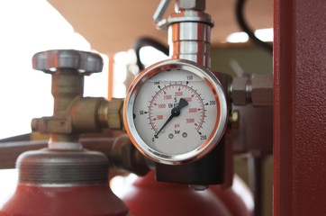 Pressure gauge on a gas tank