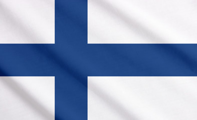 Flag of Finland waving