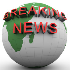 3d globe with attached breakikng news