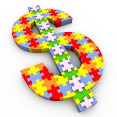 3d dollar symbol puzzle