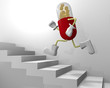 階段を上る薬のキャラクター