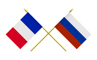 Flags, France and Russia