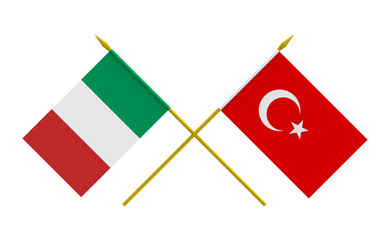 Flags, Italy and Turkey