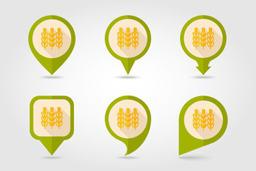 Spikelets of wheat flat mapping pin icon with long shadow