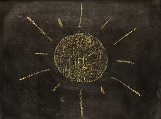sun on vintage blackboard