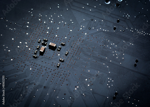 Close up of a printed black computer circuit board - 80632110