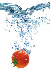 Tomato falls deeply under water