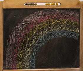 rainbow on vintage blackboard