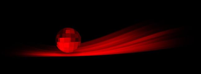 Scia di luce rossa con sfera sopra - logo.