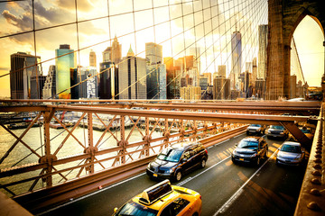 New York City, Brooklyn Bridge skyline