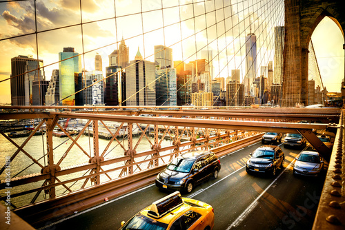 Foto op Plexiglas Amerikaanse Plekken New York City, Brooklyn Bridge skyline