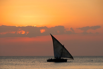 Sailboat on water at sunset, Zanzibar