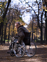 Mature man in wheelchair, in a park, one autumn day