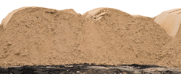 Big pile of sand isolated on white