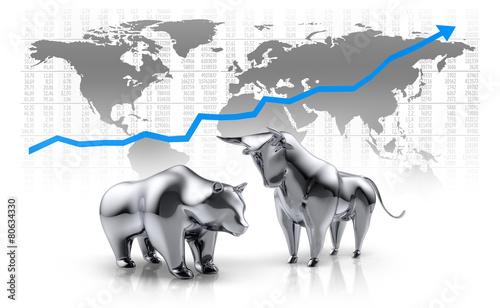 Leinwandbild Motiv Bulle und Bär vor Weltkarte 3