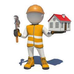 Worker in overalls holding wrench and small house. Isolated