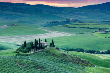 Tuscany, landscape and farmhouse in the italian hills
