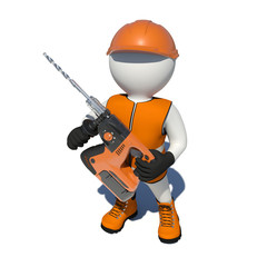 Worker in vest, shoes and helmet holding electric perforator