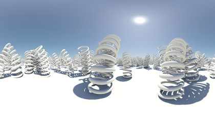 Spherical panorama of many springs. White surface. Blue sky as