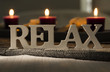 Sign of the word relax with candles - 80636374