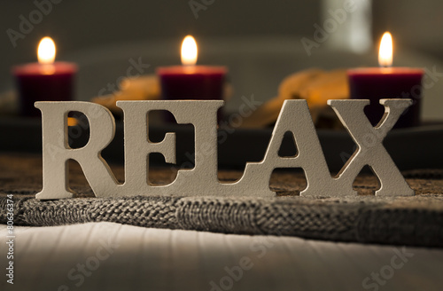 canvas print picture Sign of the word relax with candles