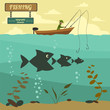 Fishing on the boat. Fishing design elements - 80636524