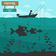 Fishing on the boat. Fishing design elements - 80636530